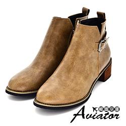 Aviator*韓國空運-個性百搭扣帶V口顯瘦粗跟短靴-咖
