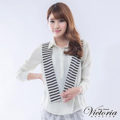 Victoria 條紋披肩雪紡襯衫-女-米白