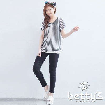 betty-s貝蒂思-金屬釦飾彈性內搭褲-黑色