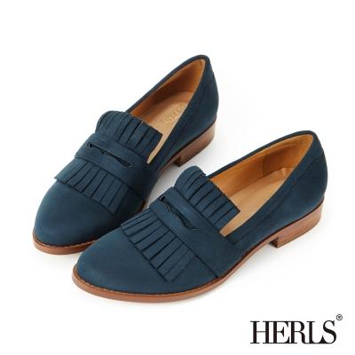 HERLS 內真皮 英倫品味麂皮絨流蘇樂福鞋-藍色