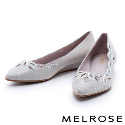 MELROSE-雕花晶鑽典雅羊皮尖頭楔型低跟鞋-金