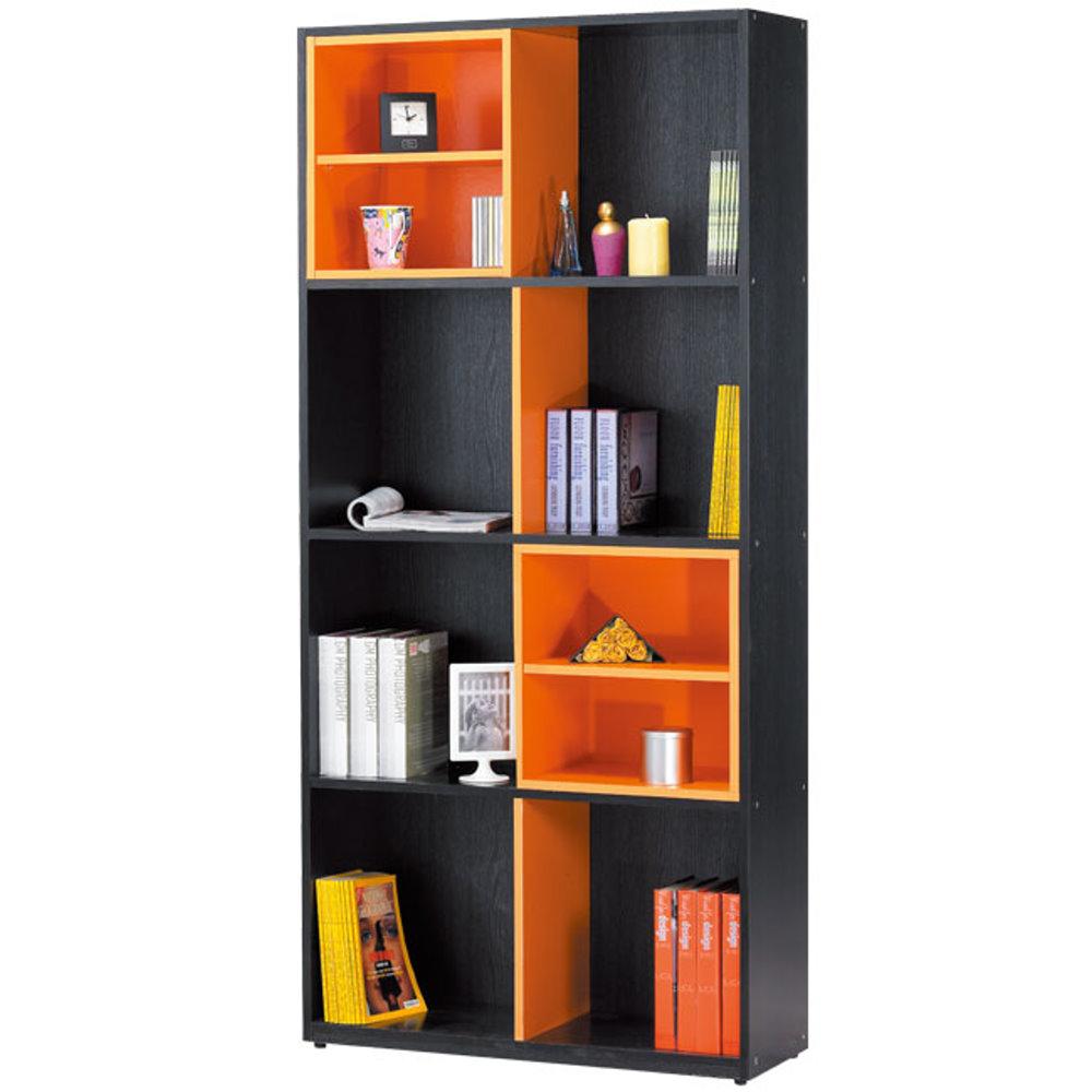 居家生活   古蕾麗2.8尺鐵刀雙色開放書櫃