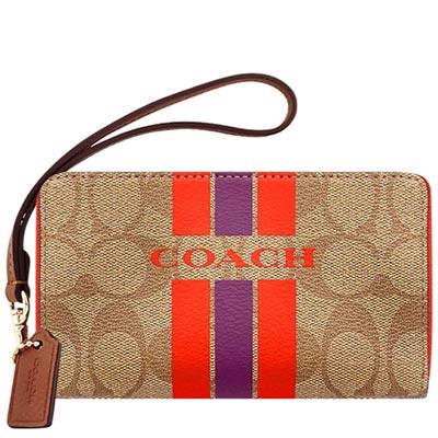 COACH-咖啡色大C條紋PVC雙層拉鍊中夾
