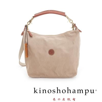 Kinoshohampu 牛皮提把手提帆布包 卡其