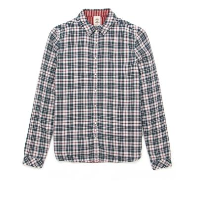 Timberland 女款紅綠色雙面可穿格紋長袖襯衫
