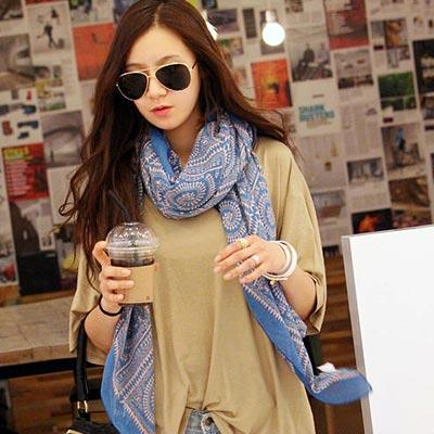Aimee-Toff-古色古香亮彩巴黎紗圍巾-藍