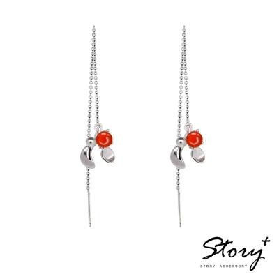STORY故事銀飾-SNOW系列-Mistletoe槲寄生紅玉髓耳墜
