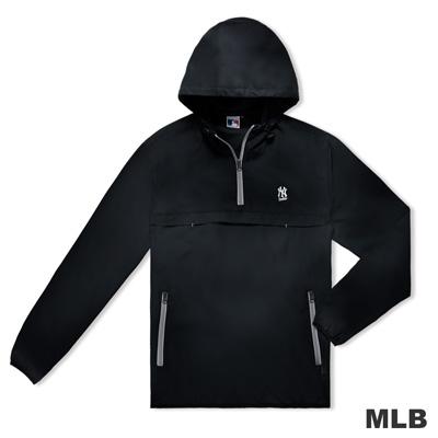 MLB-紐約洋基隊雙側拉鍊口袋連帽防風長T-黑色(男)