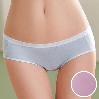 華歌爾-環保天然纖維天絲內褲M-LL中高腰三角褲(水晶紫)