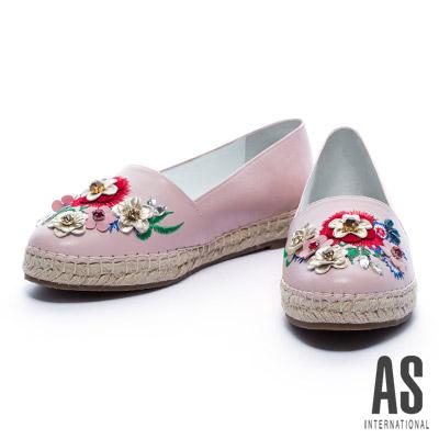 休閒鞋-AS-繽紛花漾全羊皮草編厚底休閒鞋-粉