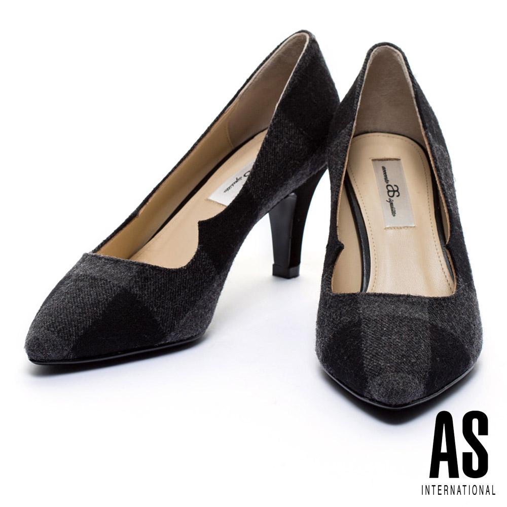 高跟鞋 AS 經典英倫格紋毛呢布高跟鞋 - 黑