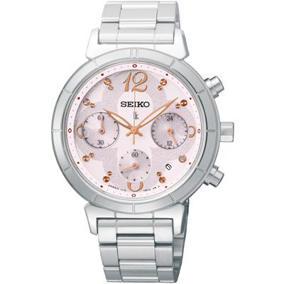 SEIKO LUKIA 太陽能 花漾時光三眼計時腕錶(SSC857J1)-粉/35mm
