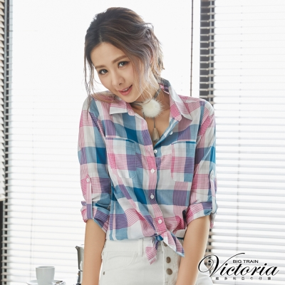 Victoria 格紋長版長袖襯衫-女-桃藍格