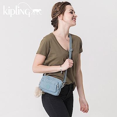 Kipling 腰包 紋路質感淺藍-小