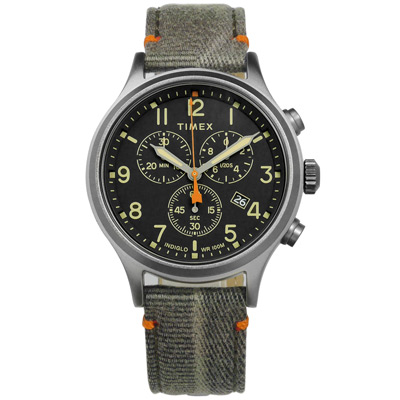 TIMEX 天美時 美國品牌 INDIGLO專利冷光照明帆布真皮手錶-黑x灰/42mm