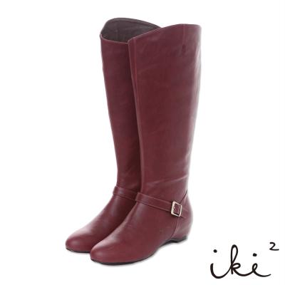 iki2 香榭巴黎-立體剪裁百搭內增高長靴-俏麗紅