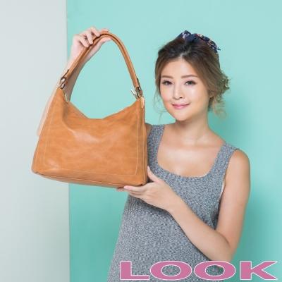 LOOK - Miya米亞 雙袋口肩背包-經典咖