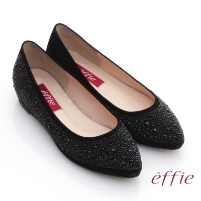effie 濃情藝文 水鑽絨面羊皮內增高鞋 黑