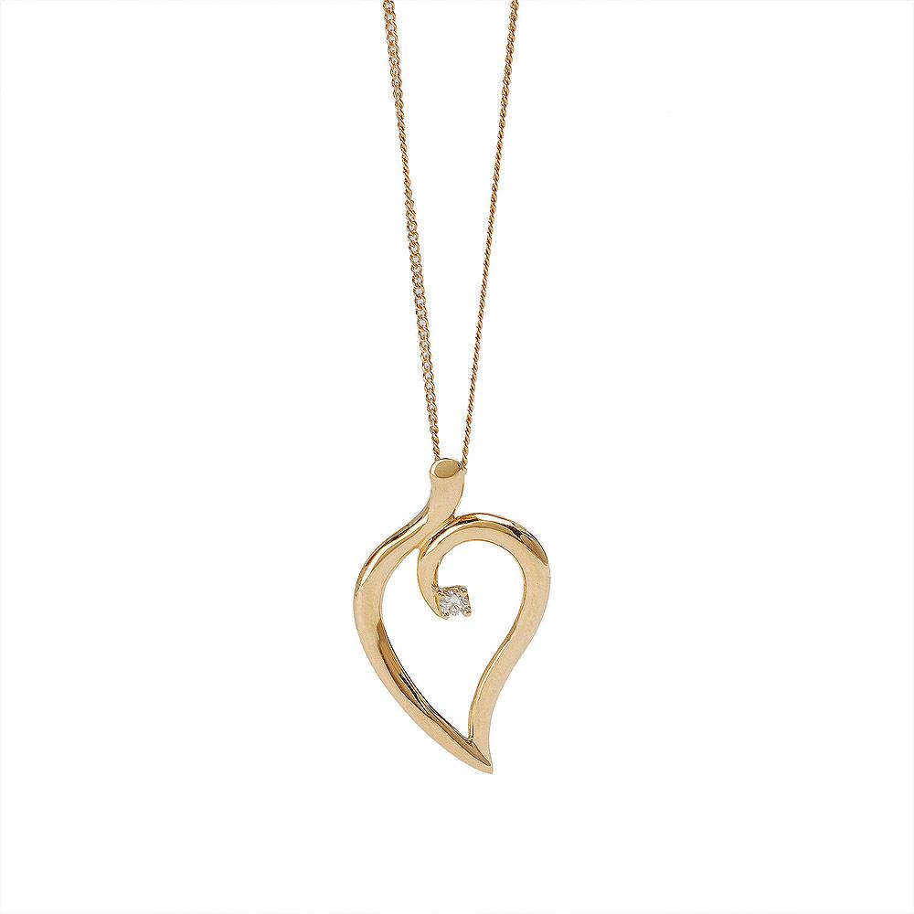 TIFFANY&Co. 心形流線18黃K金垂心鑲鑽墜飾項鍊