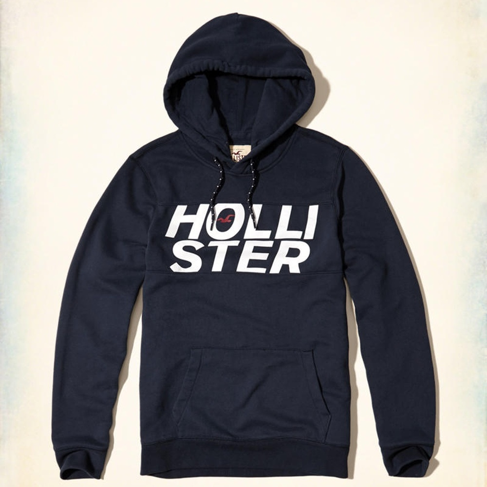 Hollister HCO 長袖 文字 連帽T 藍色 268