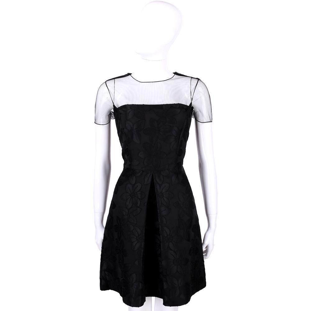 BLUGIRL 黑色透膚拼接花飾造型短袖洋裝
