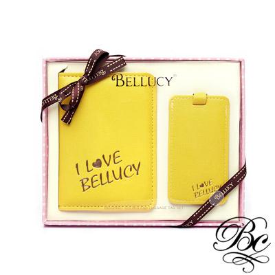 BELLUCY 護照套行李吊牌旅遊套組(甜心黃)