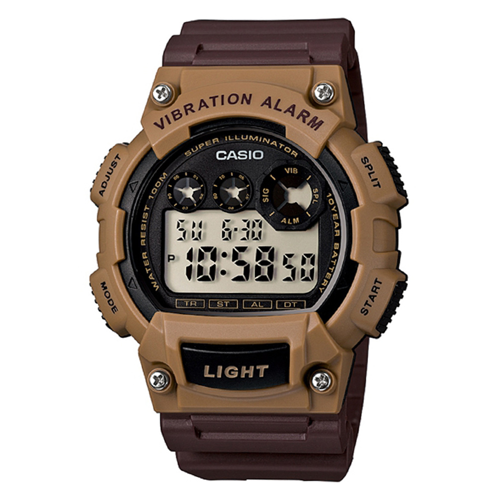 CASIO  超亮LED強悍震動數位運動錶(W-735H-5A)-咖啡/47mm