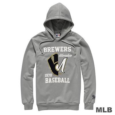 MLB-密爾瓦基釀酒人隊連帽鏡像印花長袖厚T恤-灰(男)