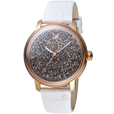 施華洛世奇SWAROVSKI璀璨光彩時尚腕錶-38mm/玫瑰金x白色