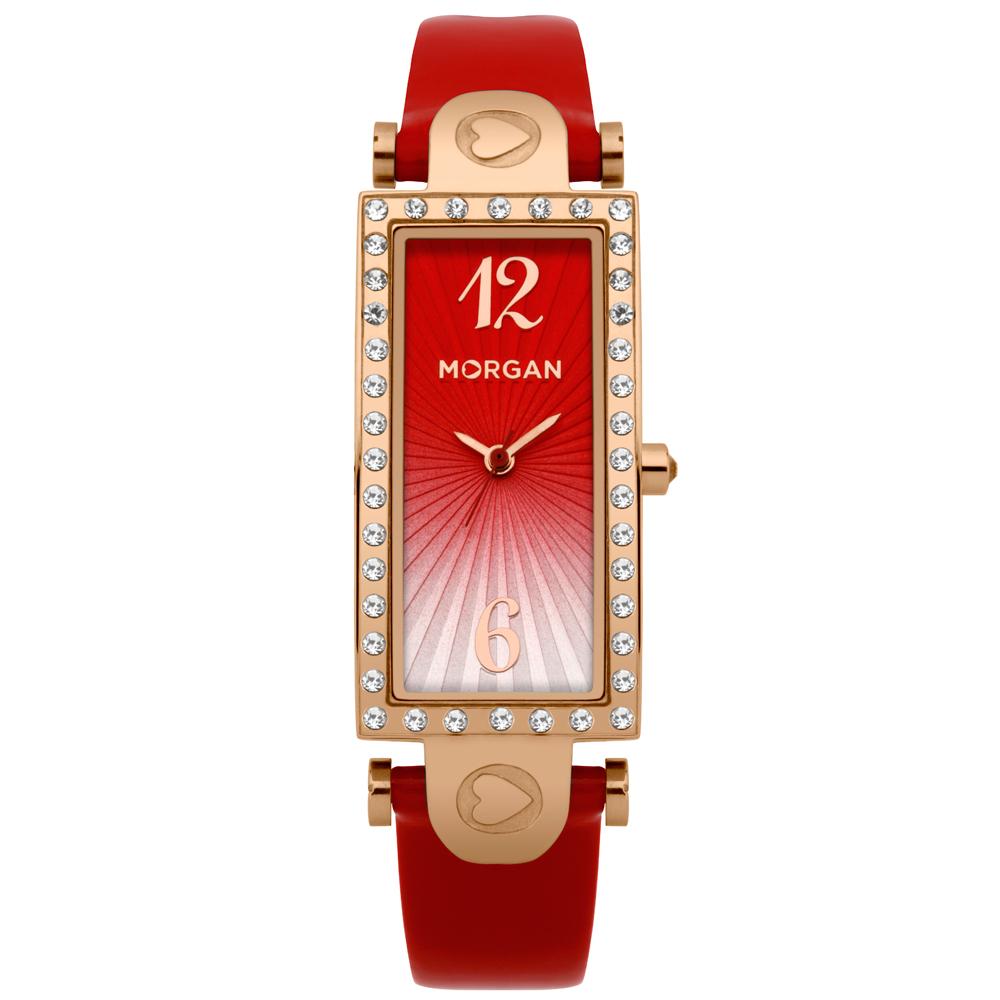 MORGAN 古典方型鑽時尚腕錶-玫瑰金x紅37mmX18mm