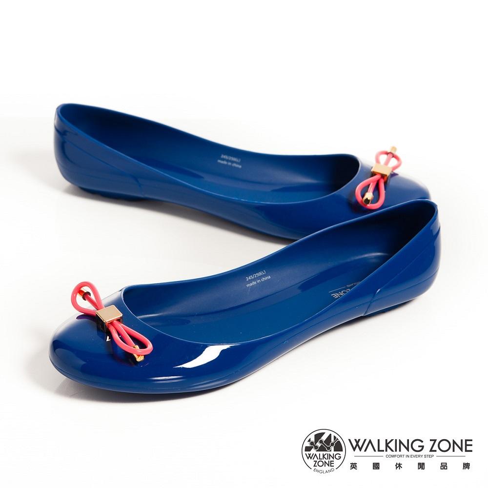 WALKING ZONE 韓版蝴蝶結亮麗配色果凍鞋-深藍