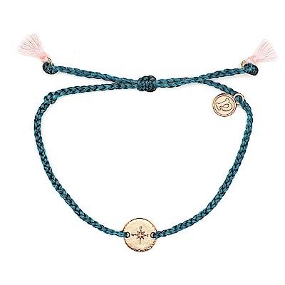 Pura Vida 美國手工 玫瑰金指南針墜飾流蘇 地中海綠臘線衝浪手鍊手環