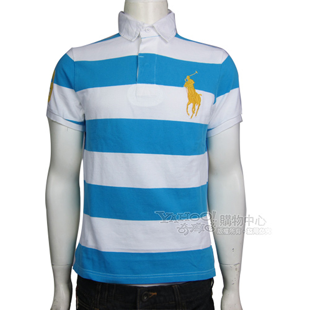 Ralph Lauren 3號臂章橫條紋POLO男衫(白水藍)
