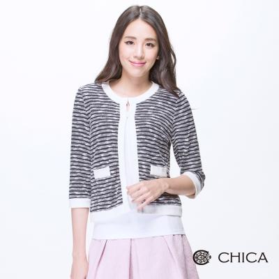 CHICA 小香風毛呢條紋五分袖外套(3色)