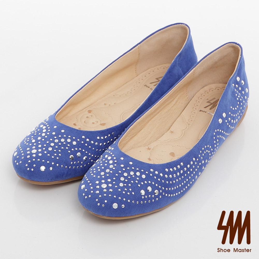 SM-台灣製-亮鑽絨面楔型娃娃鞋-藍色