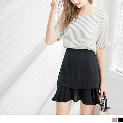 雪紡層次魚尾襬造型短裙.2色-OB嚴選
