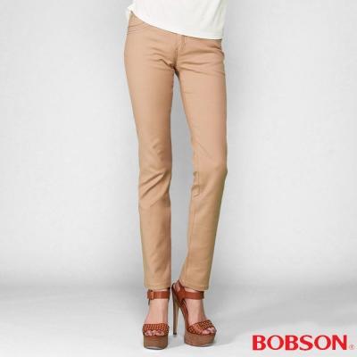 BOBSON-女款超手感彈力卡其小直筒褲