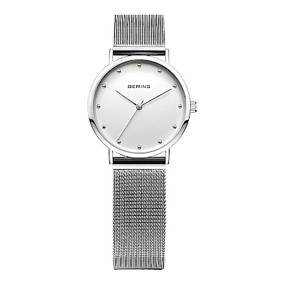 BERING丹麥精品手錶 晶鑽刻度米蘭帶系列 銀色 小錶面26mm