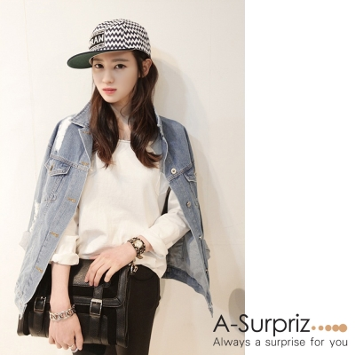 A-Surpriz DRAW波浪條紋棒球帽(白底黑紋)