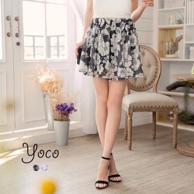 東京著衣-yoco 輕甜鏤空格紋細褶印花褲裙-XS.S.M(共二色)