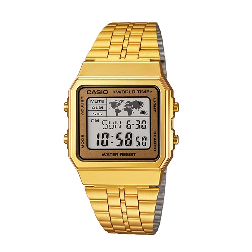 CASIO 復古風數字復刻地圖液晶顯示腕錶(A-500WGA-9A)-金X金框/34mm