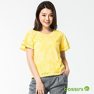bossini女裝-圓領短袖造型上衣01黃