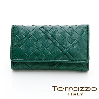 義大利Terrazzo - 小羊皮手工編織菱格紋鑰匙包-綠色75G2278B