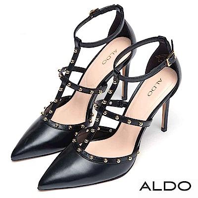 ALDO 原色真皮繫帶鉚釘圓珠繞踝細高跟鞋~尊爵黑色