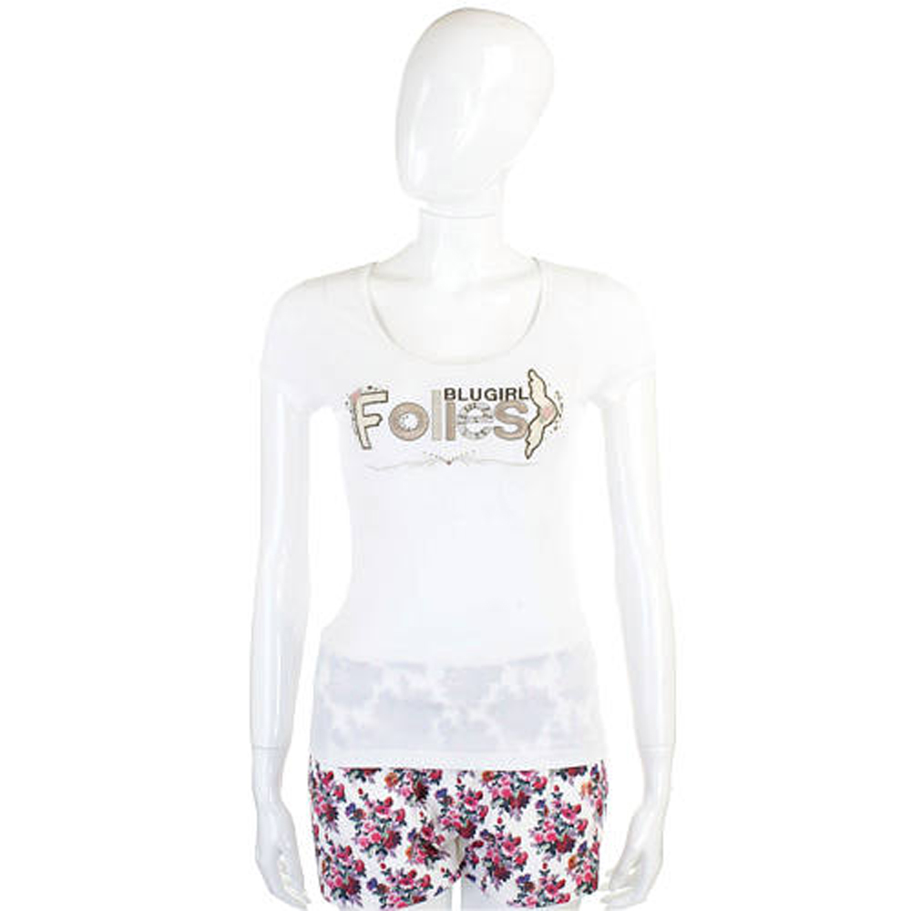 BLUGIRL-Folies 白色品牌字母短袖T恤