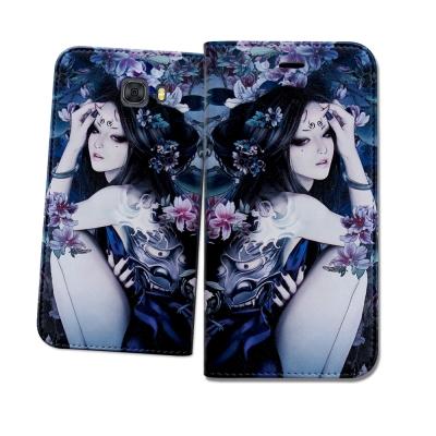 張小白授權Samsung Galaxy C9 Pro古典奇幻 插畫磁扣皮套(鬼姬...