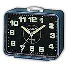 CASIO 夜間指針桌上方型簡約鬧鐘(TQ-218-2DF)-藍X黑面
