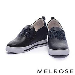 休閒鞋 MELROSE 奢華俏麗晶鑽蝴蝶結設計沖孔拼接厚底休閒鞋-黑