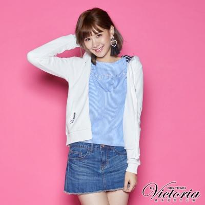 Victoria 帽裏配條連帽休閒外套-女-白色