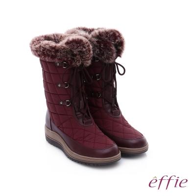 effie 混搭美型 異材質拼接兔毛菱格綁帶中筒靴  酒紅色